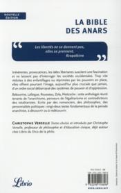 La bible des anars ; anthologie des grans textes de l'anarchisme - 4ème de couverture - Format classique