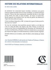 Histoire des relations internationales ; de 1945 à nos jours (16e édition) - 4ème de couverture - Format classique