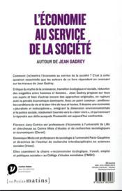 L'économie au service de la société ; autour de Jean Gadrey - 4ème de couverture - Format classique