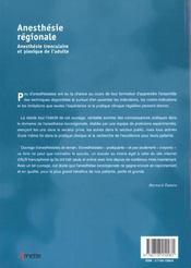 Anesthesie regionale anesthesie tronculaire et plexique de l'adulte - 4ème de couverture - Format classique