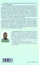 Afrique ; Le Spectre De L'Echec - 4ème de couverture - Format classique