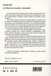Le poème de la raison ; descartes - 4ème de couverture - Format classique