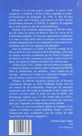 Poum : revolution dans la guerre d'espagne - 4ème de couverture - Format classique