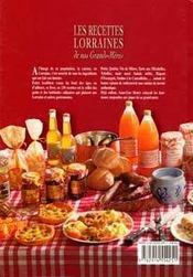 Les recettes lorraines de nos grands-mères - 4ème de couverture - Format classique