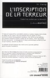 L'inscription de la terreur - 4ème de couverture - Format classique