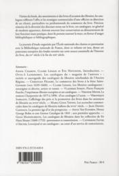 Le livre entre le commerce et l'histoire des idées ; les catalogues de libraires (XV-XIXe siècle) - 4ème de couverture - Format classique