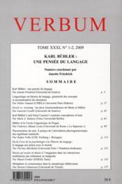 Verbum, n 1-2/2009. tome xxxi. karl buhler : une pensee du langage - 4ème de couverture - Format classique
