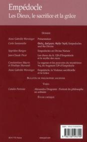 REVUE DE METAPHYSIQUE ET DE MORALE N.2012/3 ; Empédocle ; les dieux, le sacrifice et la grâce - 4ème de couverture - Format classique