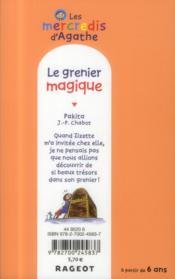 Les mercredis d'Agathe ; le grenier magique - 4ème de couverture - Format classique