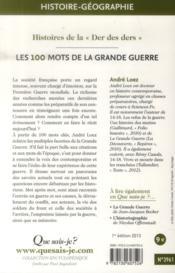Les 100 mots de la Grande Guerre - 4ème de couverture - Format classique