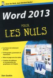 Word 2013 pour les nuls - Couverture - Format classique