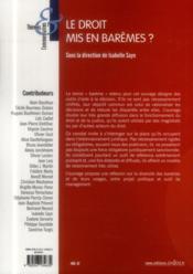 Le droit mis en barèmes ? - 4ème de couverture - Format classique