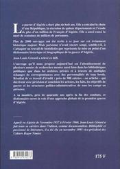 Dictionnaire Historique Et Biographique De La Guerre Dalgerie - 4ème de couverture - Format classique