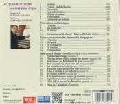 Jacques Berthier ; oeuvres pour orgue - 4ème de couverture - Format classique