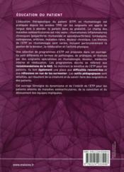 Education therapeutique du patient en rhumatologie - 4ème de couverture - Format classique