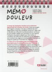 Mémo douleur (2e édition) - 4ème de couverture - Format classique
