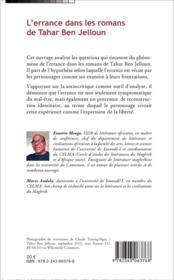 L'errance dans les romans de Tahar ben Jelloun - 4ème de couverture - Format classique