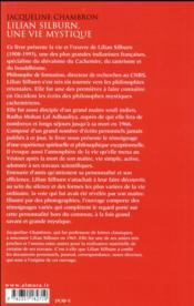Lilian Silburn, une vie mystique - 4ème de couverture - Format classique
