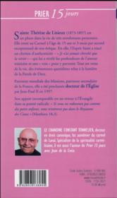 Prier 15 jours avec... ; Thérèse de Lisieux - 4ème de couverture - Format classique