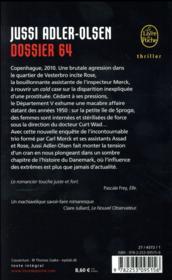 Les enquêtes du département V T.4 ; dossier 64 - 4ème de couverture - Format classique