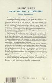 Les pouvoirs de la litterature - histoire d'un paradoxe - 4ème de couverture - Format classique