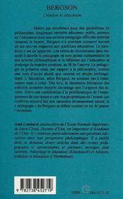 Bergson : création et éducation - Intérieur - Format classique