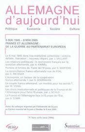 REVUE ALLEMAGNE D'AUJOURD'HUI ; 8 mai 1945-8 mai 2005, France et Allemagne : de la guerre au partenariat européen - Intérieur - Format classique