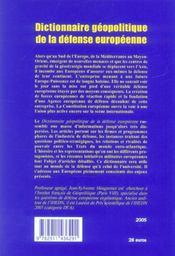 Dictionnaire geopolitique de la defense europeenne - 4ème de couverture - Format classique
