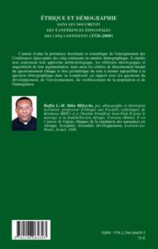Éthique et démographie dans les documents des conférences épiscopales des cinq continents (1950-2000) - 4ème de couverture - Format classique