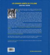 Les grandes années du cyclisme ; les années 60 - 4ème de couverture - Format classique
