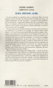 Marx, prénom : Karl - 4ème de couverture - Format classique