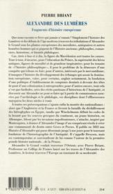 Alexandre des lumières ; fragments d'histoire européenne - 4ème de couverture - Format classique