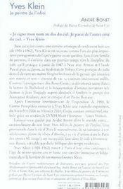 Yves klein, le peintre de l'infini - 4ème de couverture - Format classique
