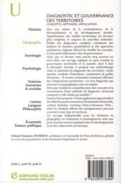 Diagnostic et gouvernance des territoires ; concepts, méthodes, application - 4ème de couverture - Format classique