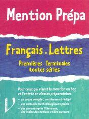 Francais Lettres ; 1e-Terminale - Intérieur - Format classique