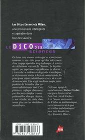 Le dico des sciences - 4ème de couverture - Format classique