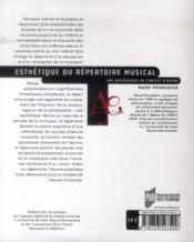 Esthétique du répertoire musical ; une archéologie du concept d'oeuvre - 4ème de couverture - Format classique