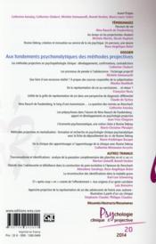 Revue Psychologie Clinique & Projective N.20 ; Aux Fondements Psychanalytiques Des Méthodes Projectives - 4ème de couverture - Format classique