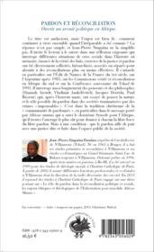 Pardon et réconciliation ; ouvrir un avenir politique en Afrique - Couverture - Format classique