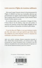 Lettre ouverte à l'Eglise - 4ème de couverture - Format classique