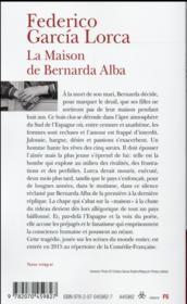 La maison de Bernarda Alba - 4ème de couverture - Format classique