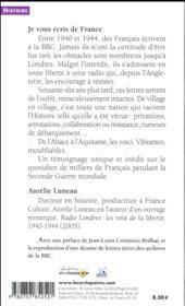 Je vous écris de France ; lettres inédites à la BBC, 1940-1944 - 4ème de couverture - Format classique