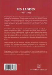 Les Landes ; 1914-1918 - 4ème de couverture - Format classique