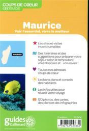 GEOguide coups de coeur ; Maurice et Rodrigues (édition 2019) - 4ème de couverture - Format classique