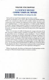 La science sociale comme vision du monde ; Durkheim et le mirage du salut - 4ème de couverture - Format classique