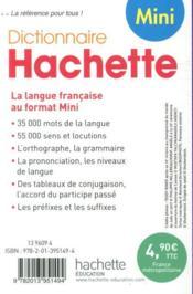 Mini dictionnaire Hachette français - 4ème de couverture - Format classique