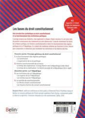 Les bases du droit constitutionnel - 4ème de couverture - Format classique