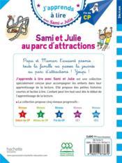 J'apprends à lire avec Sami et Julie ; Sami et Julie au parc d'attractions - 4ème de couverture - Format classique