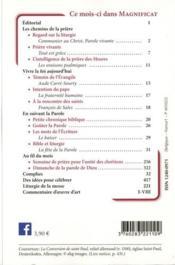 MAGNIFICAT N.338 ; janvier 2021 - 4ème de couverture - Format classique