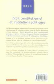 Droit Constitutionnel Et Institutions Politiques (6e Edition - 4ème de couverture - Format classique